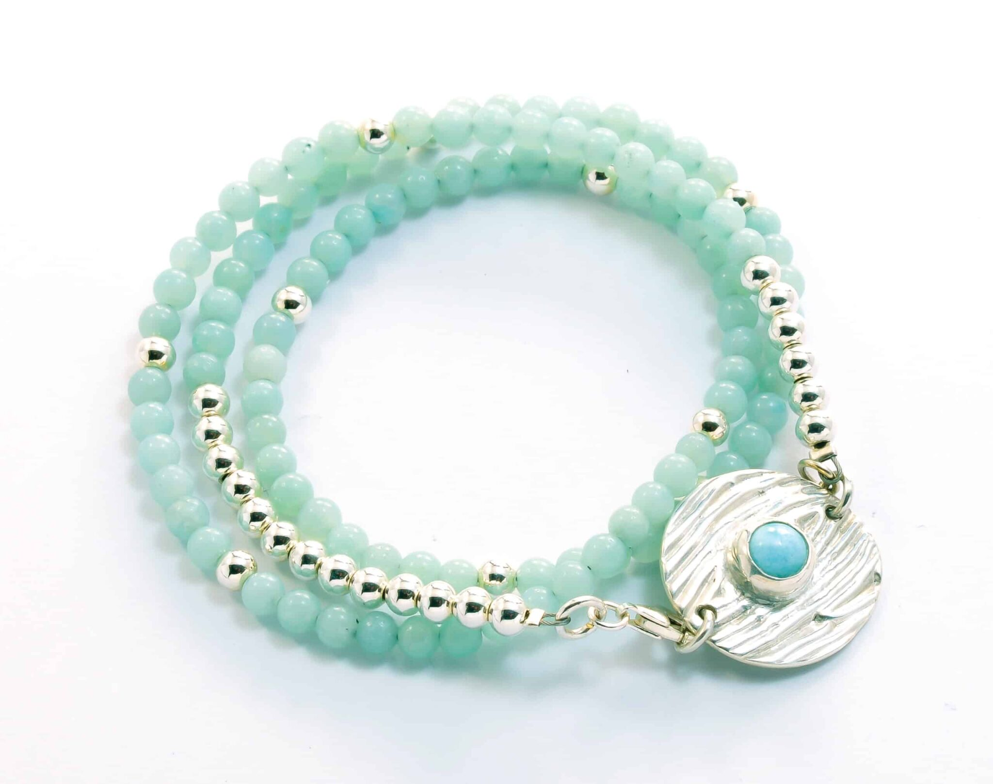 Maroochydore-amazonite-and-sterling-silver-beaded-wrap-bracelet-with-cabachon-set-disc-126046-juliestephens