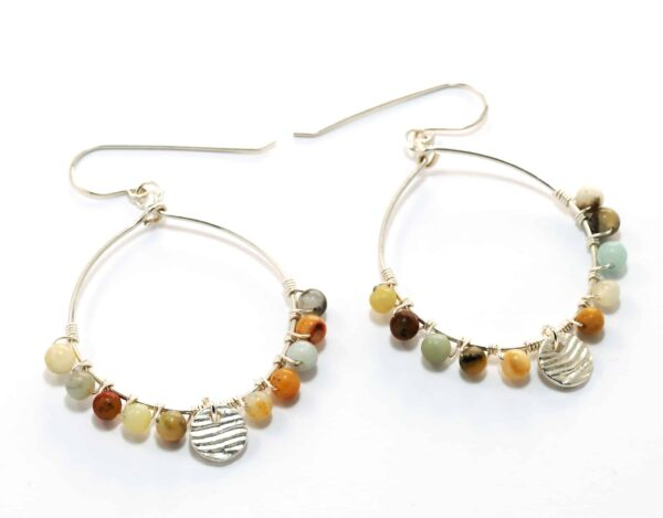 mooloolaba-sterling-silver-hoop-earrings-with-natural-mix-amazonite-beads-and-disc-dangle-126106-juliestephens
