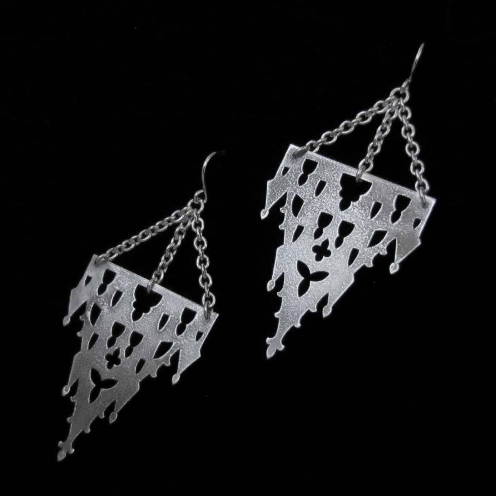 Cathedral Phantom Reflection – Silver Earrings By Skadi Jewellery Design