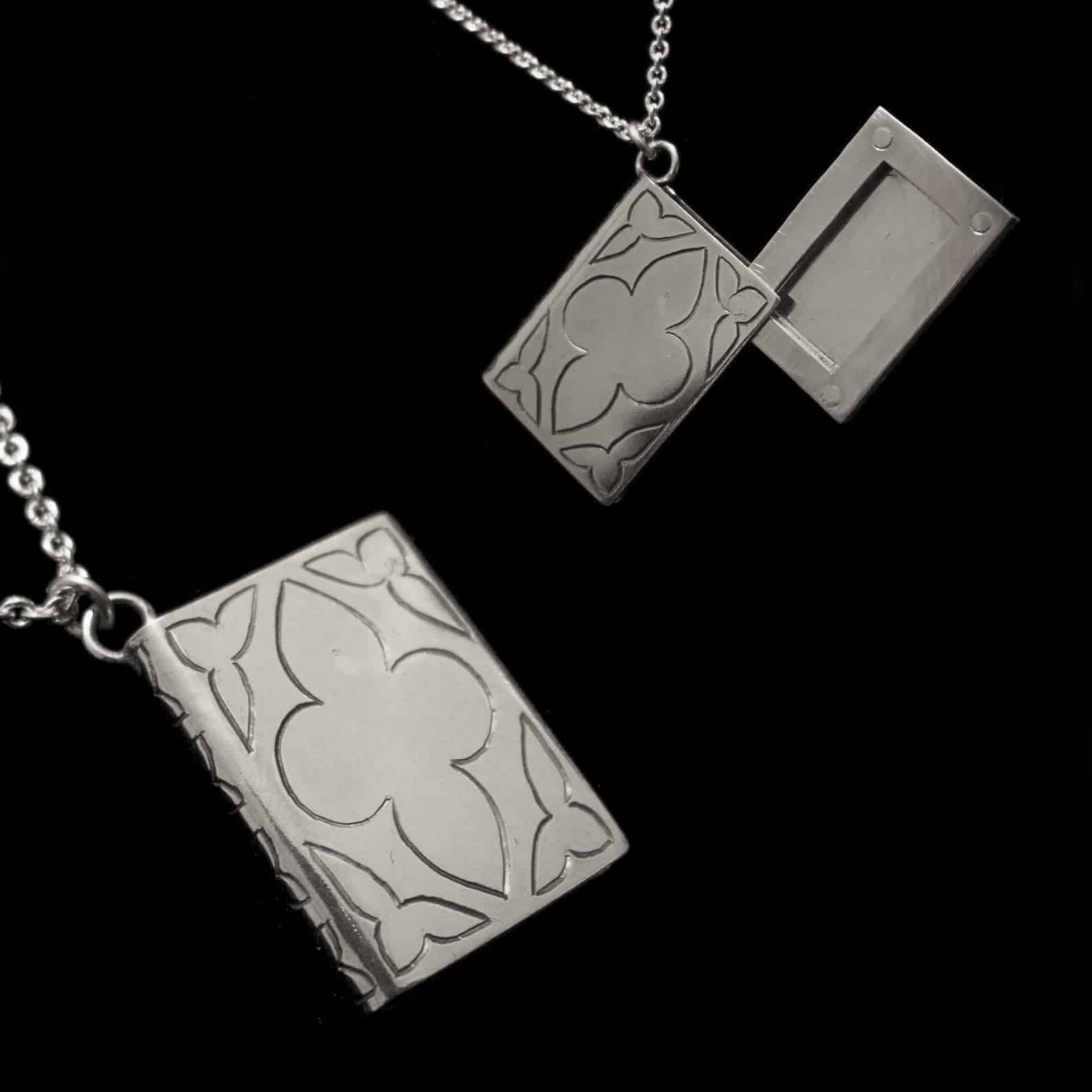 Grim Fable – Silver Book Locket Necklace By Skadi Jewellery Design