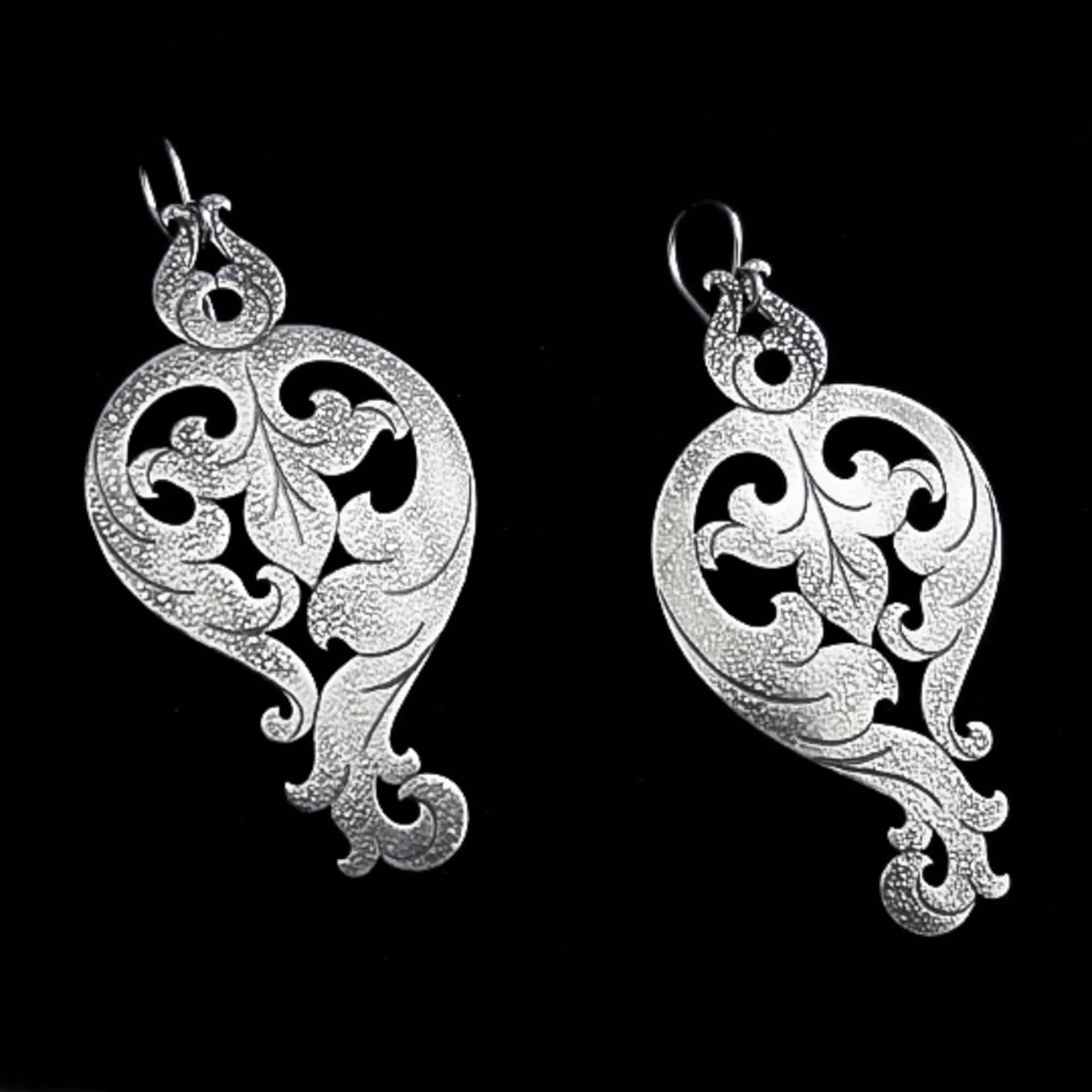 Baroque Soiree – Silver Earrings By Skadi Jewellery Design