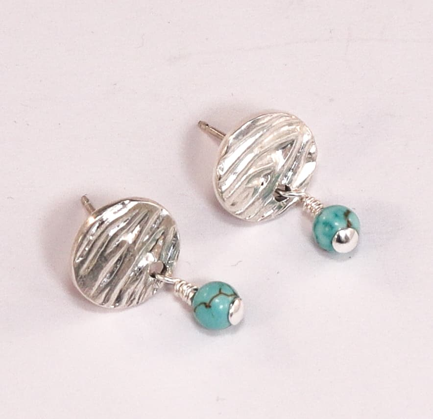 Fine-silver-stud-hand-textured-with-semi-precious-turquoise-bead-dangle-by-julie-stephens-designs-fitzroy-126111-juliestephens