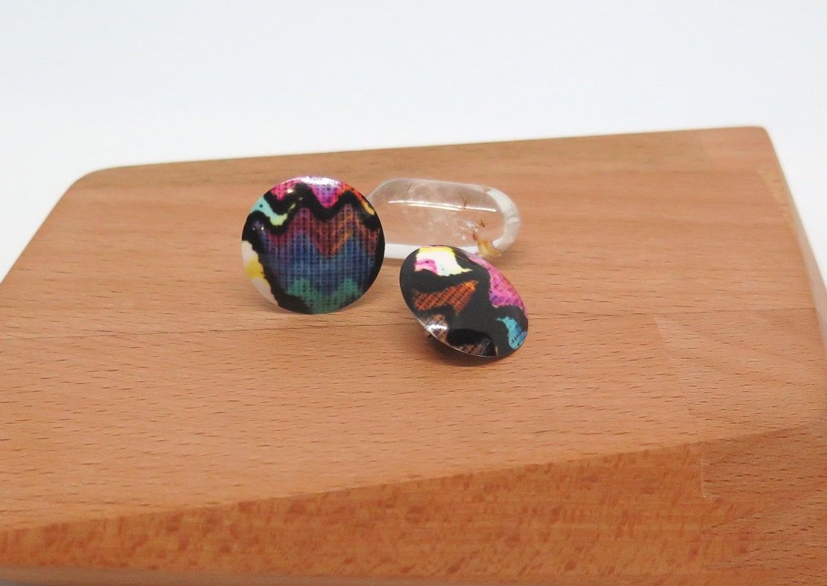 Multi Coloured Dye Sublimation Clip-on Earrings By GermanoArts