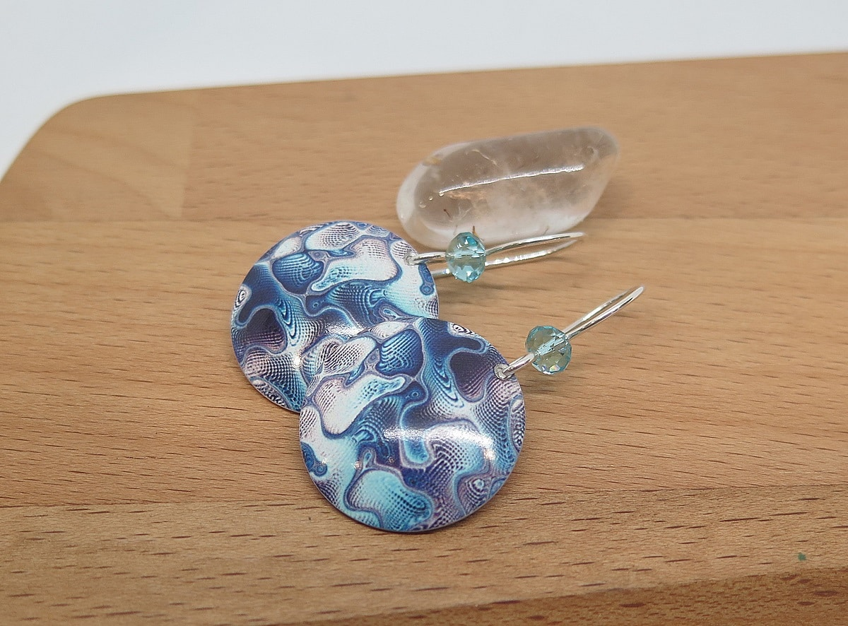 Blue Waves, Sterling Silver Dye Sublimation Dangle Earrings By Germano Arts