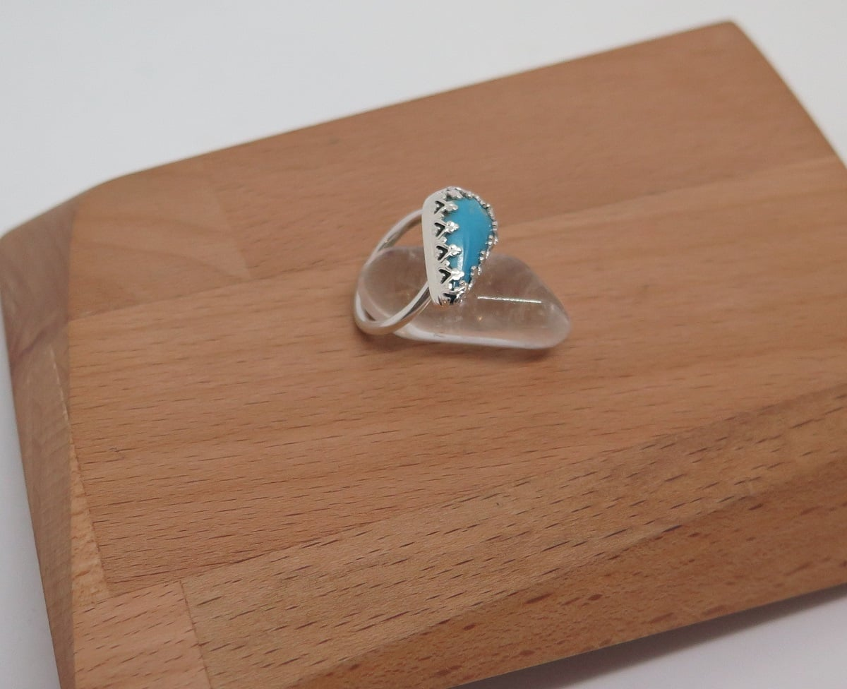 Ring: Sterling Silver Half Round Band Nevada Turquoise Size: L By Germano Arts