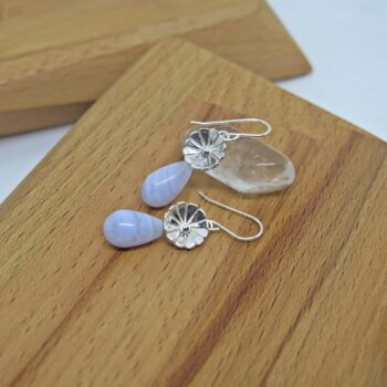 earrings-sterling-silver-bar-with-lotus-flower-smoky-quartz-by-germano-arts-919078-Germano Arts