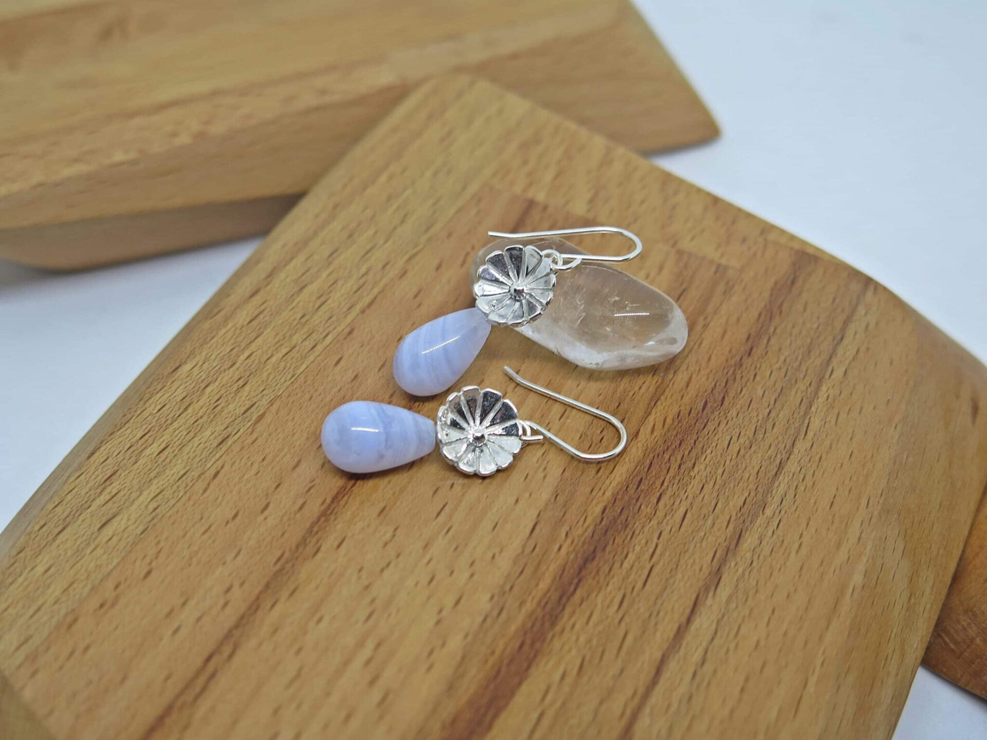 Blue Lace Agate Earrings By GermanoArts