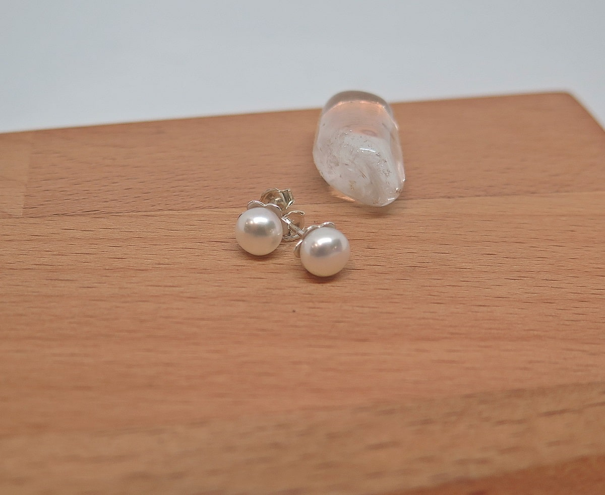 White Pearl Studs By GermanoArts