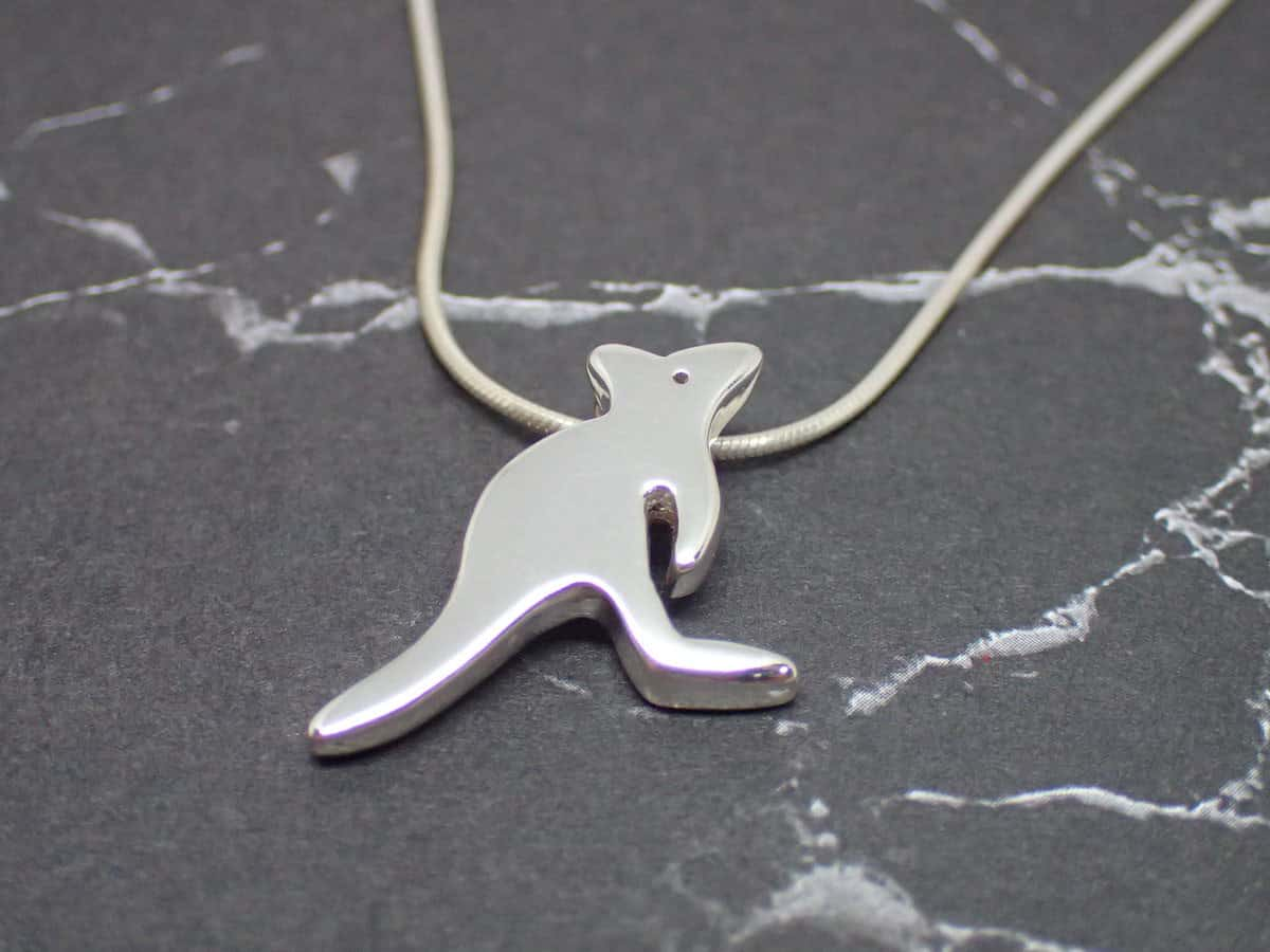 Joey – Handmade Sterling Silver Kangaroo Pendant With Snake Chain By Purplefish Designs