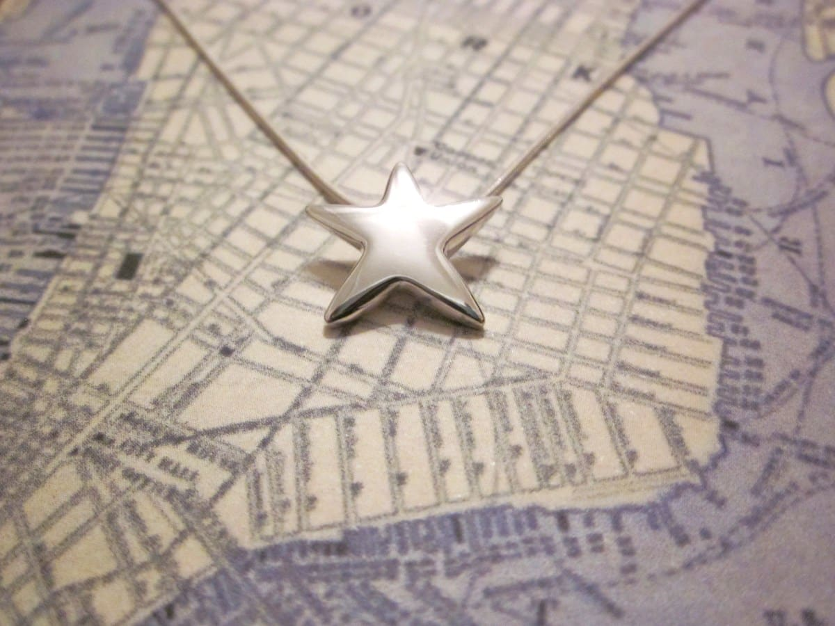 Star – Handmade Sterling Silver Pendant With Snake Chain By Purplefish Designs