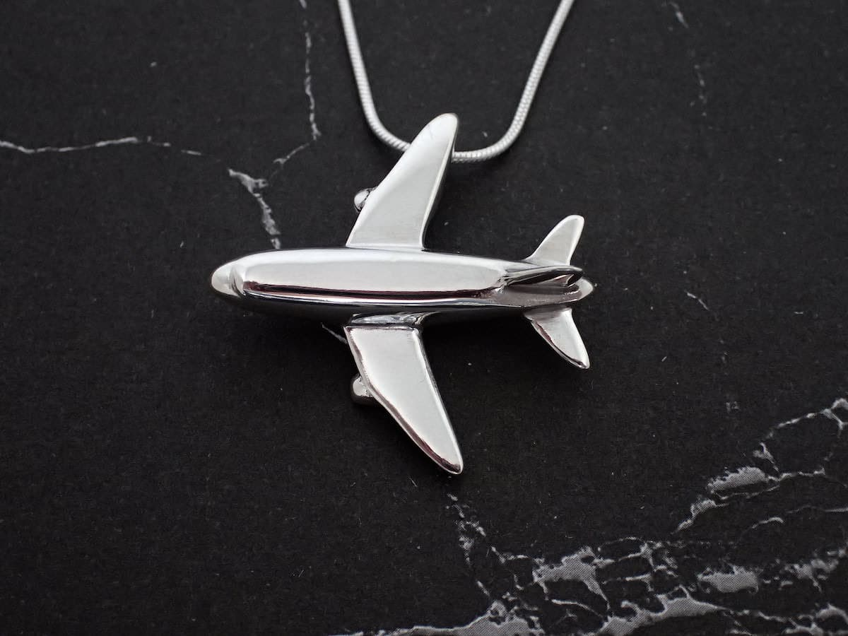 Aeroplane – Handmade Sterling Silver Pendant With Snake Chain By Purplefish Designs