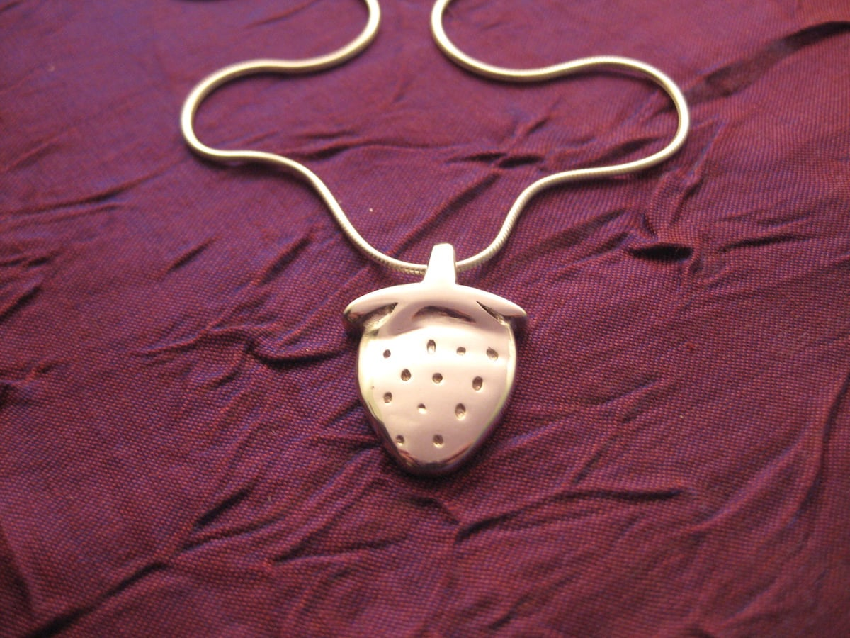 Strawberry – Handmade Sterling Silver Pendant With Snake Chain By Purplefish Designs
