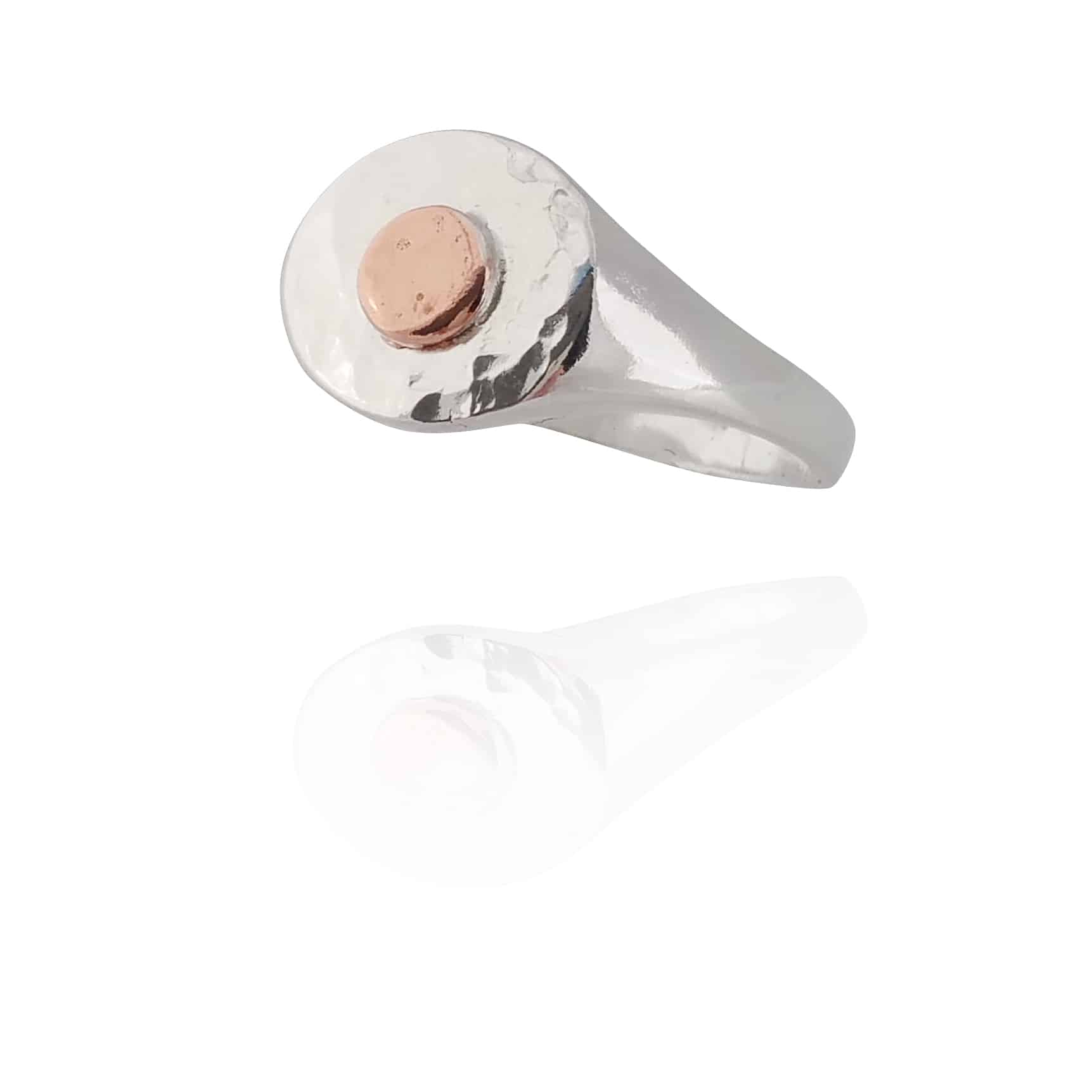 Sterling Silver Signet Ring With A POP Of Copper (Tray #1) – 70. By Sterling Silver 925