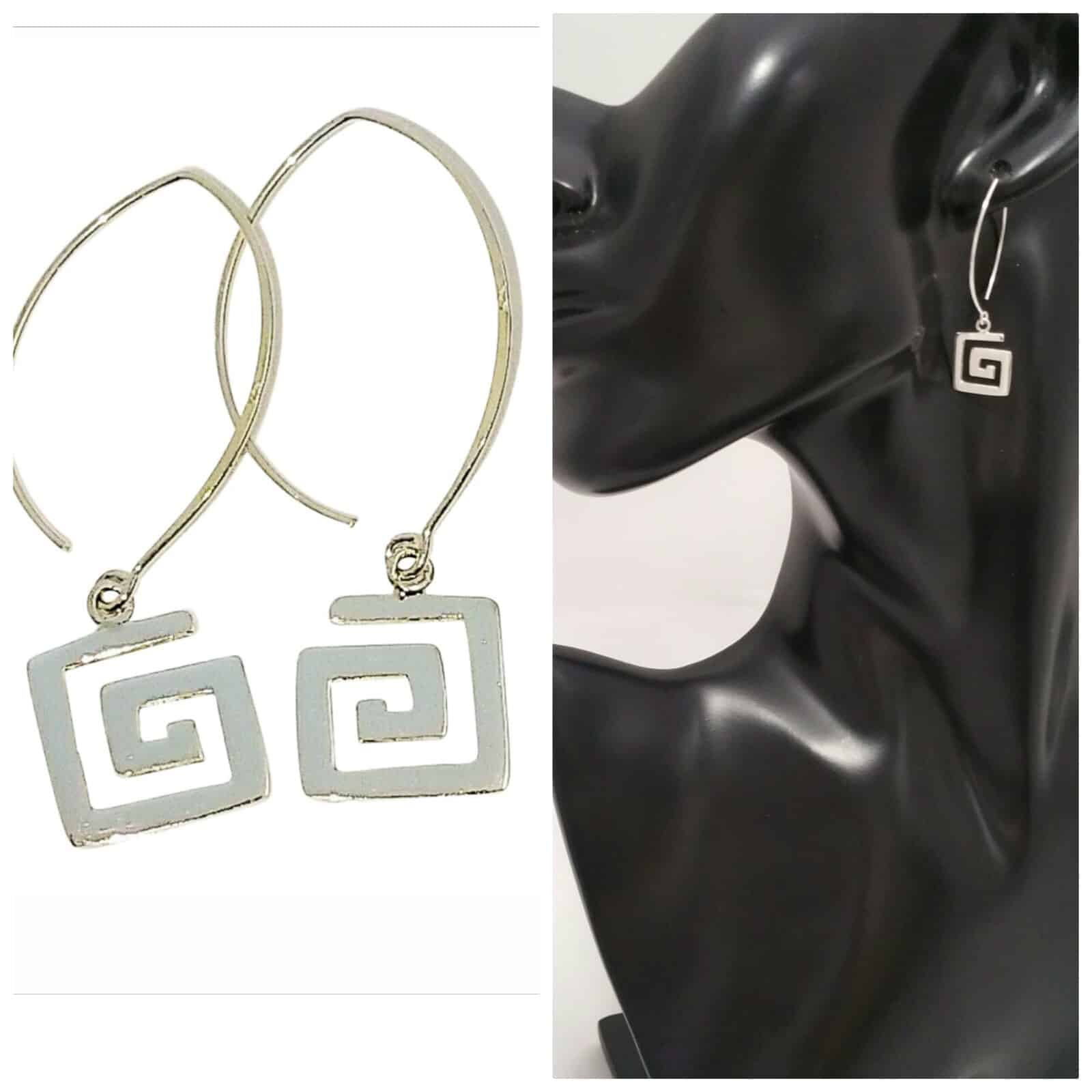 Silver Grecian Style Square Earrings Sterling Silver  – By Sterling Silver 925