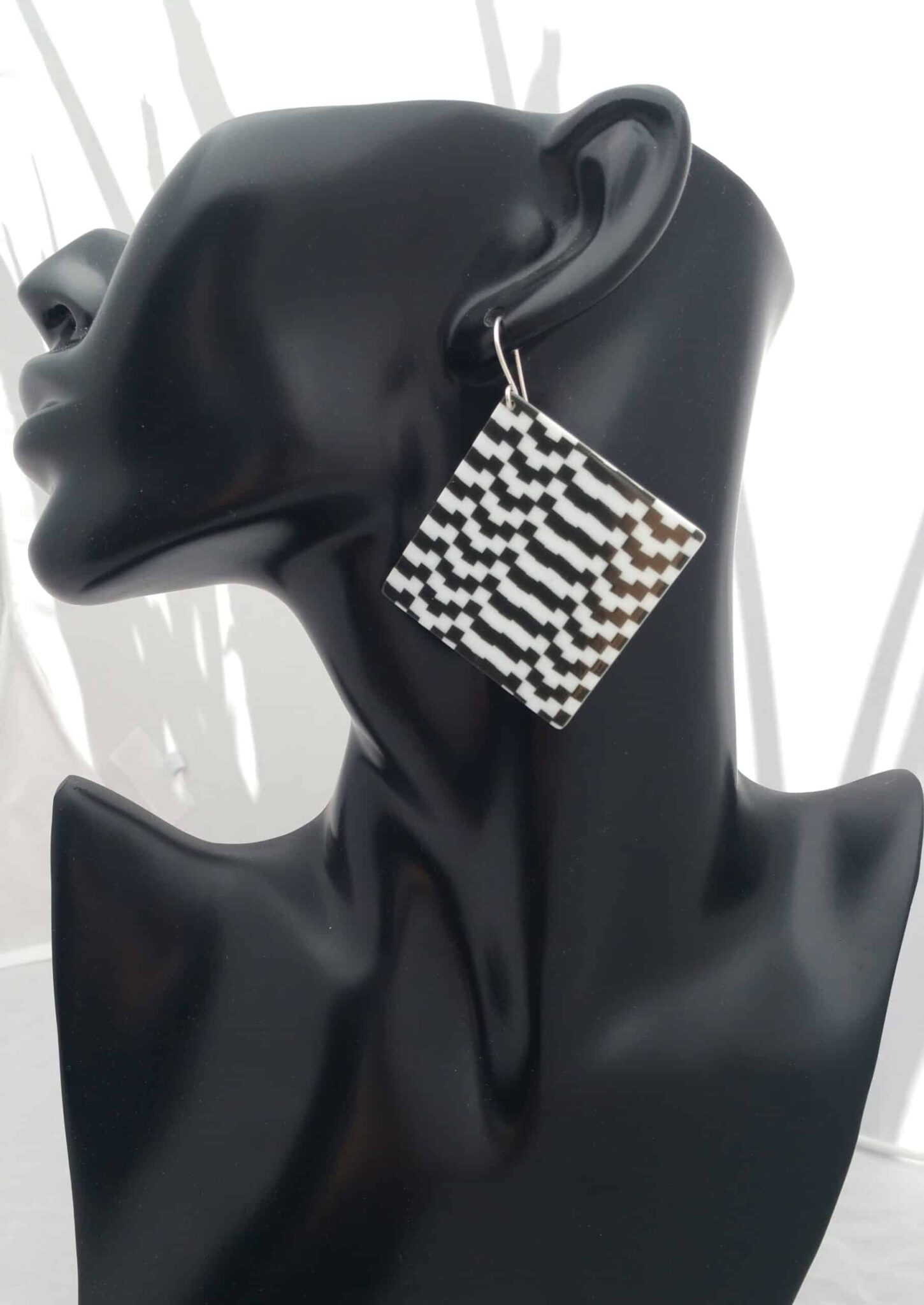 Square Plaid Earrings (Black/White) – 15. By Sterling Silver 925