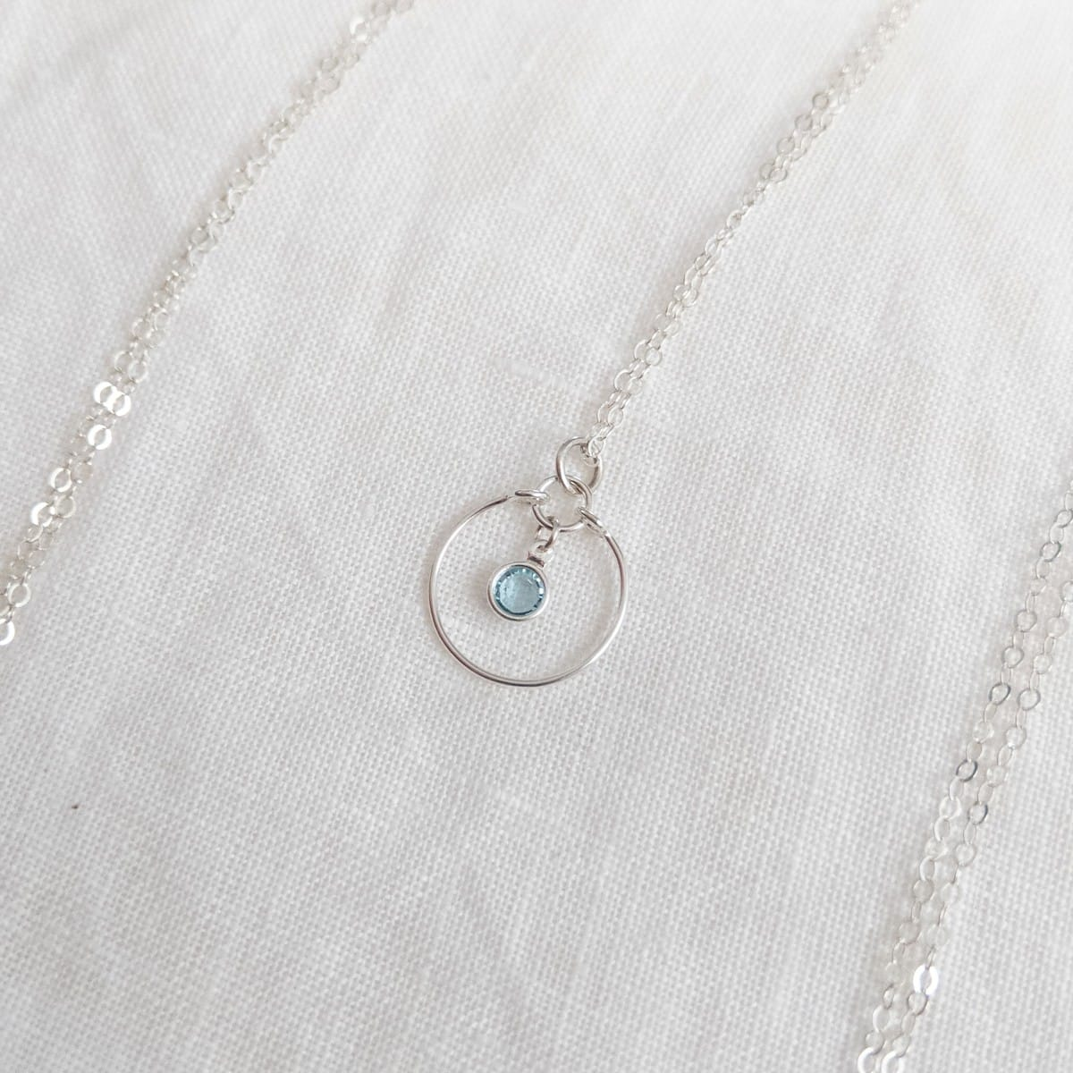 Gem Necklace Aquamarine In Sterling Silver By Little Hangings