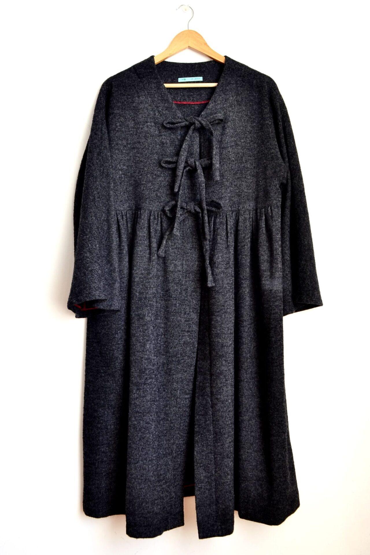 Blanket Coat, Black, Flare Sleeve By à Pois