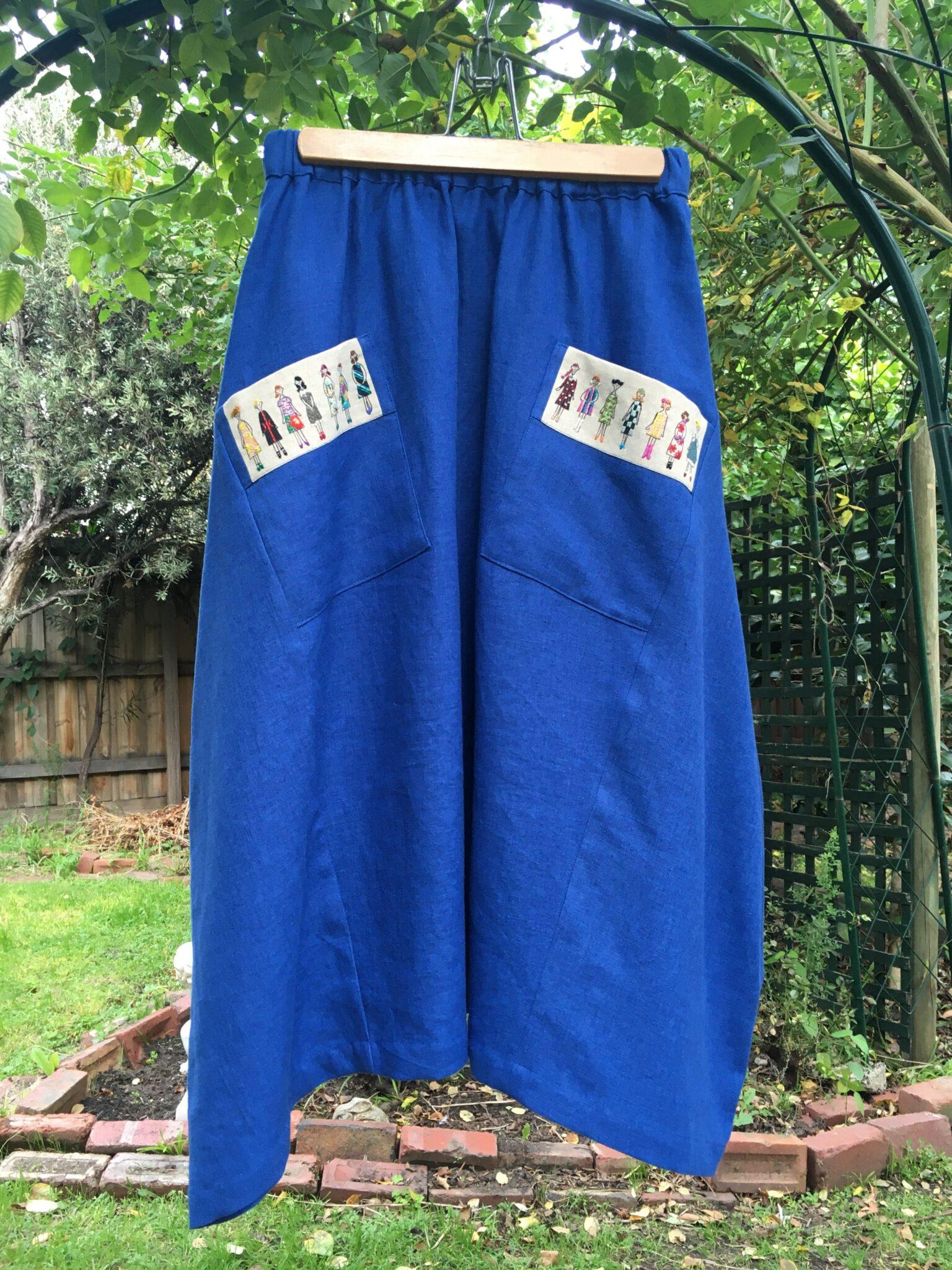 Ohana Skirt With Embroidered Pockets (Blue) By à Pois