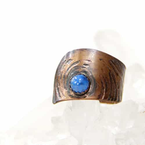 Etched Copper Ring With Lapis By TLH Inspired