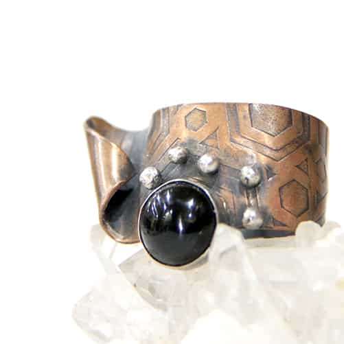 Etched Copper Ring With Blk Onyx By TLH Inspired
