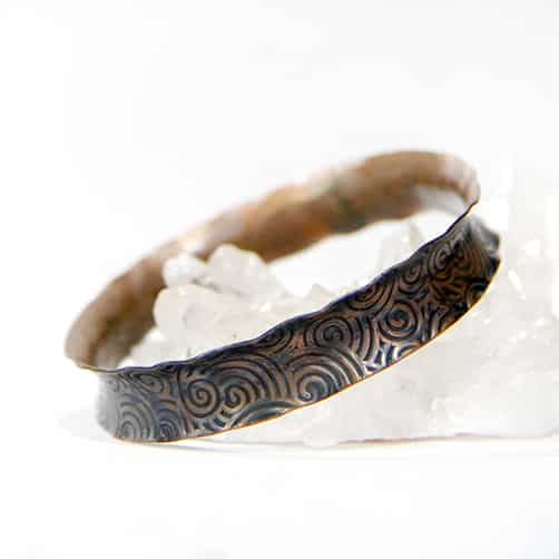 Copper Bangle With Swirl Texture Flutted By TLH Inspired