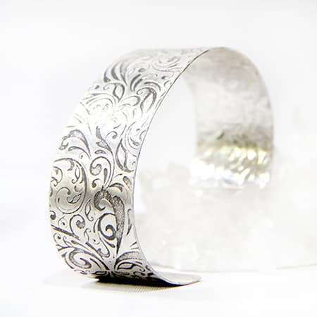 Oxidised Floral Sterling Silver Cuff By TLH Inspired