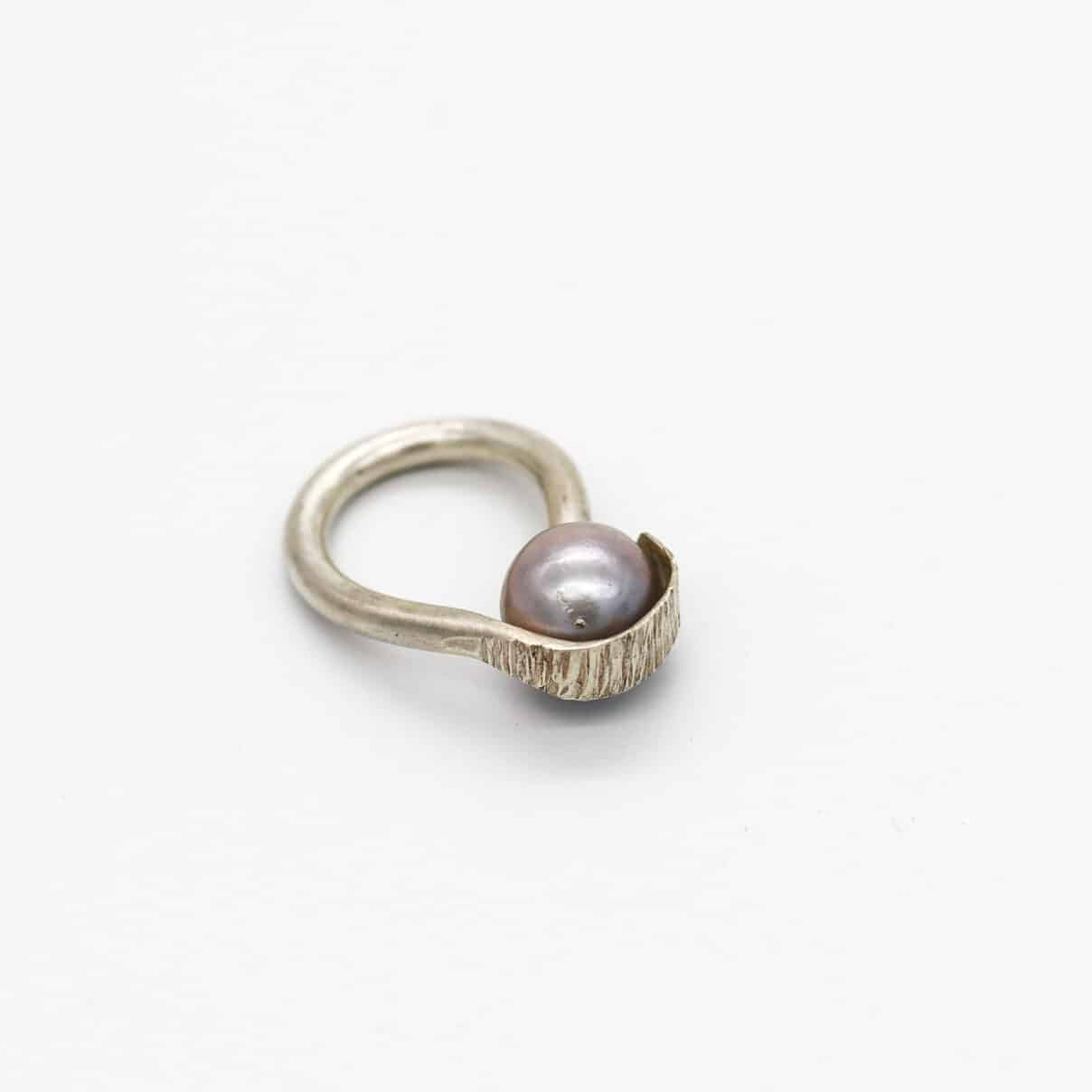 Hammered STG Ring With Black Pearl By Of That Ilk