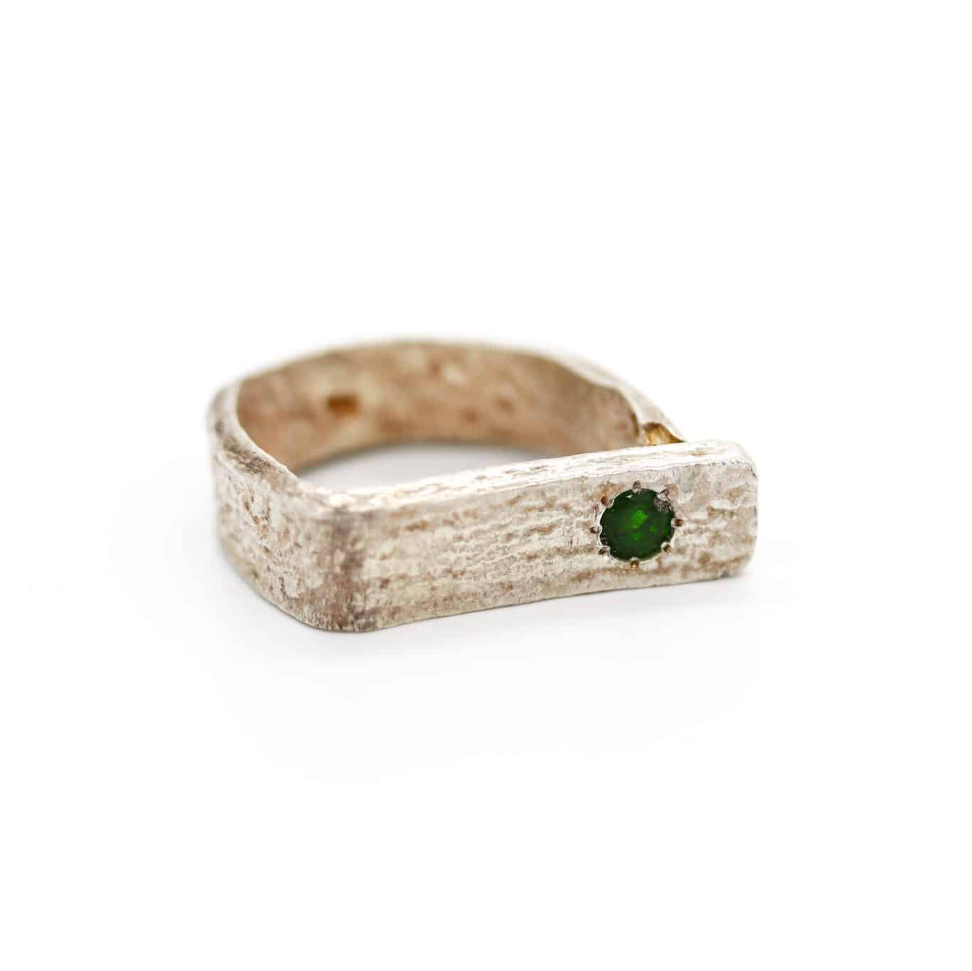 Wedding Lace Fine Silver And Diopside Ring By Of That Ilk