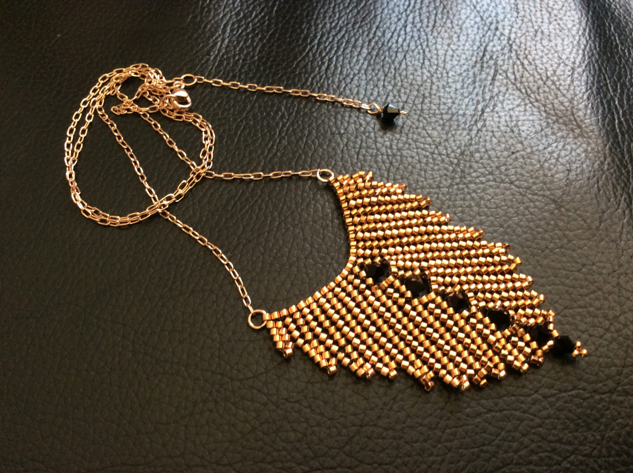 Rose Gold And Swarovski Handwoven Pendant By Covet And Desire