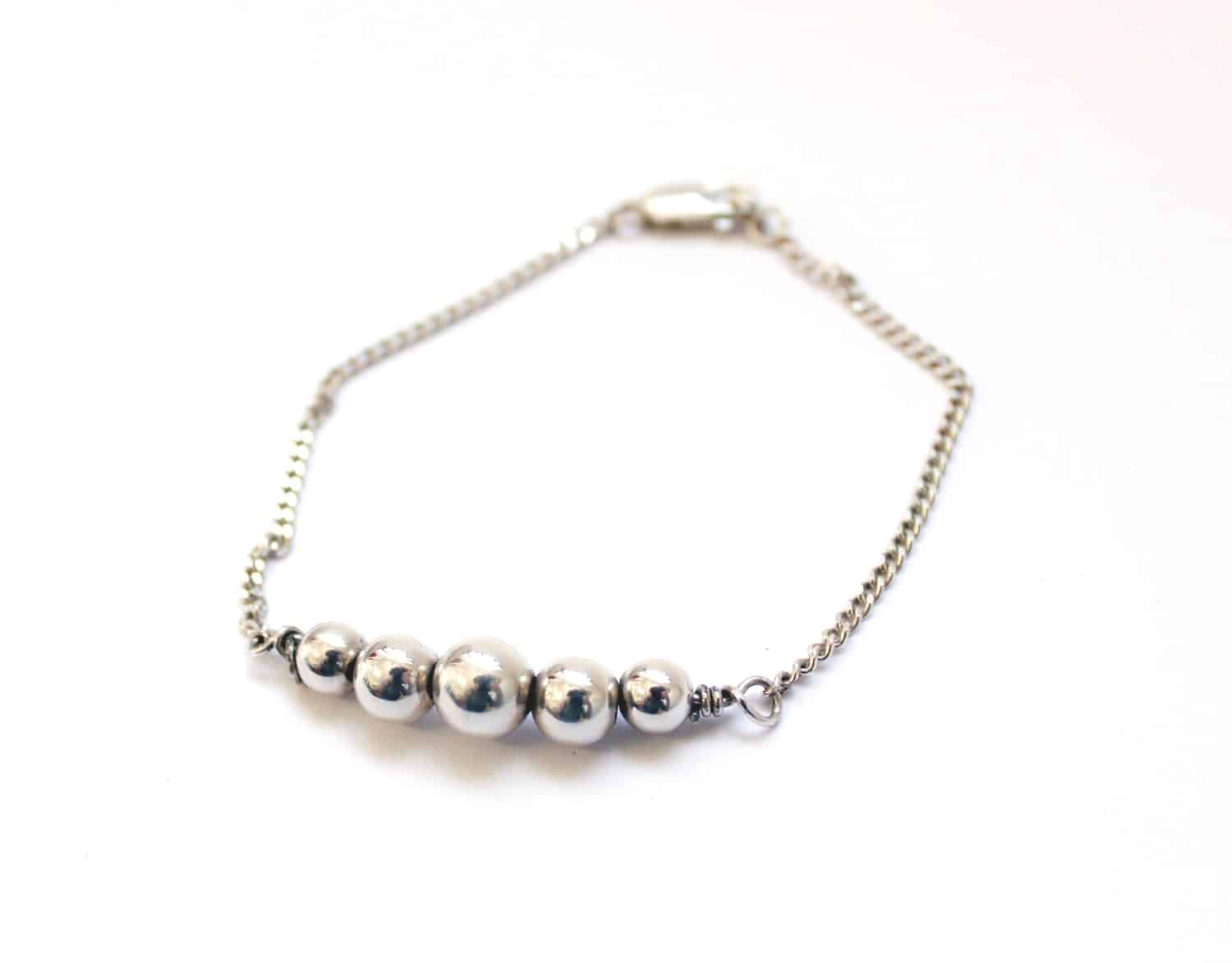 5 Bead Bracelet 18cm By The Silver Goose