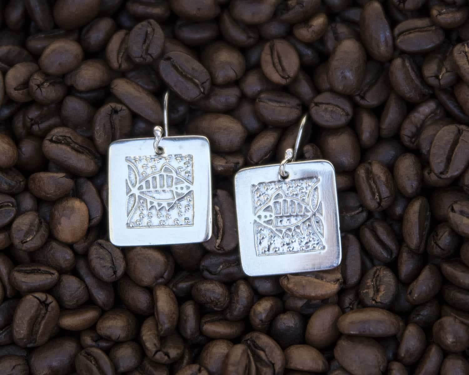 Fish Earrings (square) By The Silver Goose