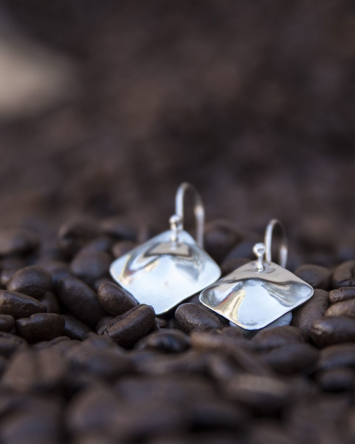 Square Round Domed Earrings By The Silver Goose