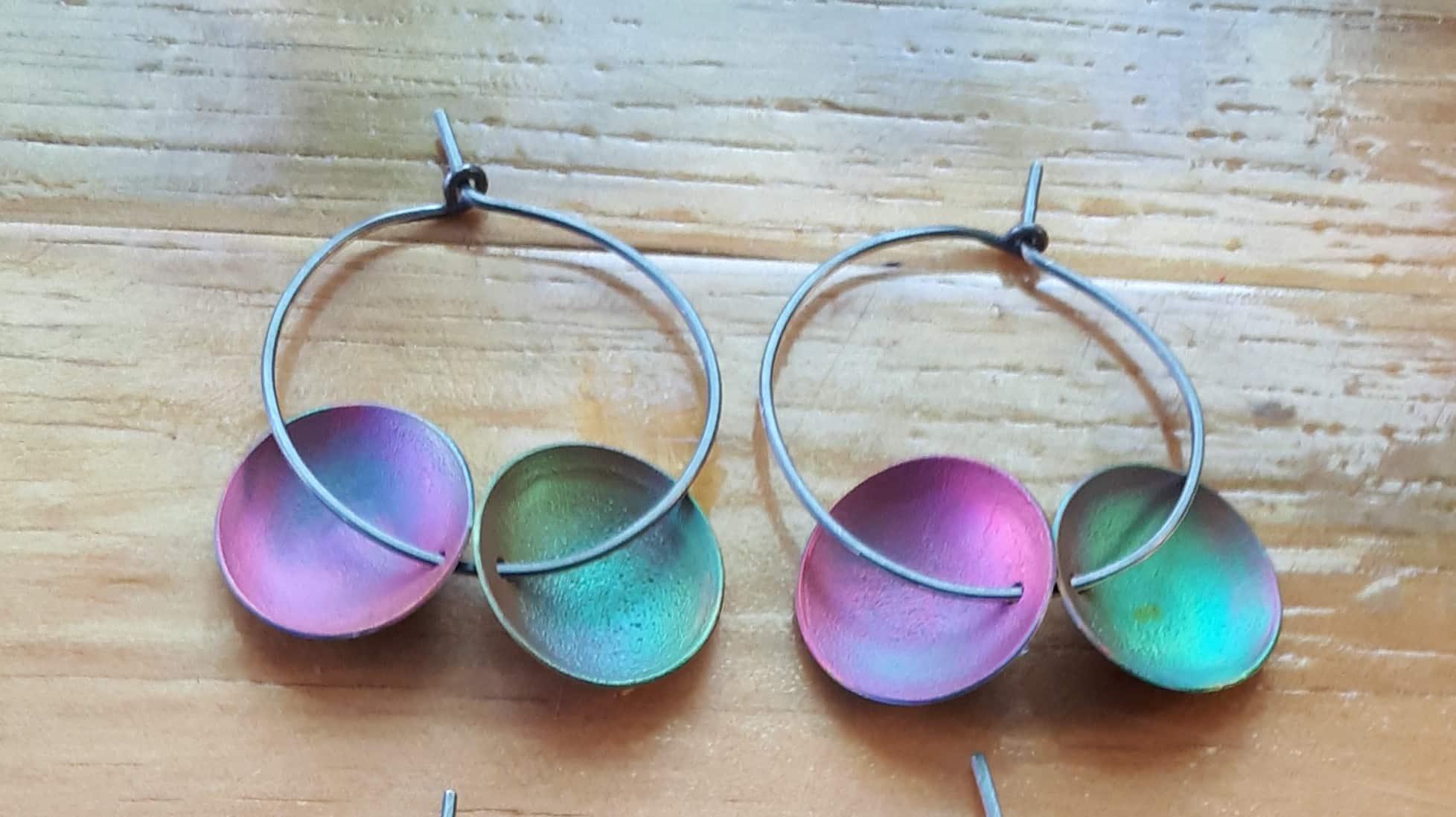 Double Dot Shibuichi Hoop Earrings 'Pink & Green' By Emma Hesz