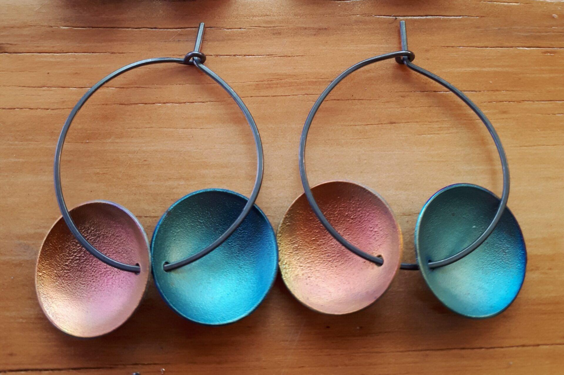 Double Dot Shibuichi Hoop Earrings 'Orange & Soft Blue' By Emma Hesz