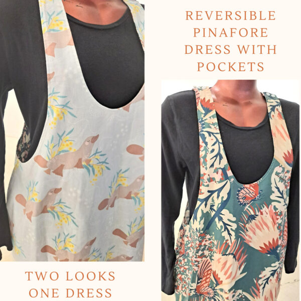 Size 16 Reversible Dress Butterfly and Platypus by St David Studio