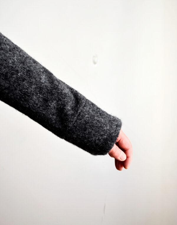 Blanket Coat, black, tapered sleeve by à pois A pois (Prahran)
