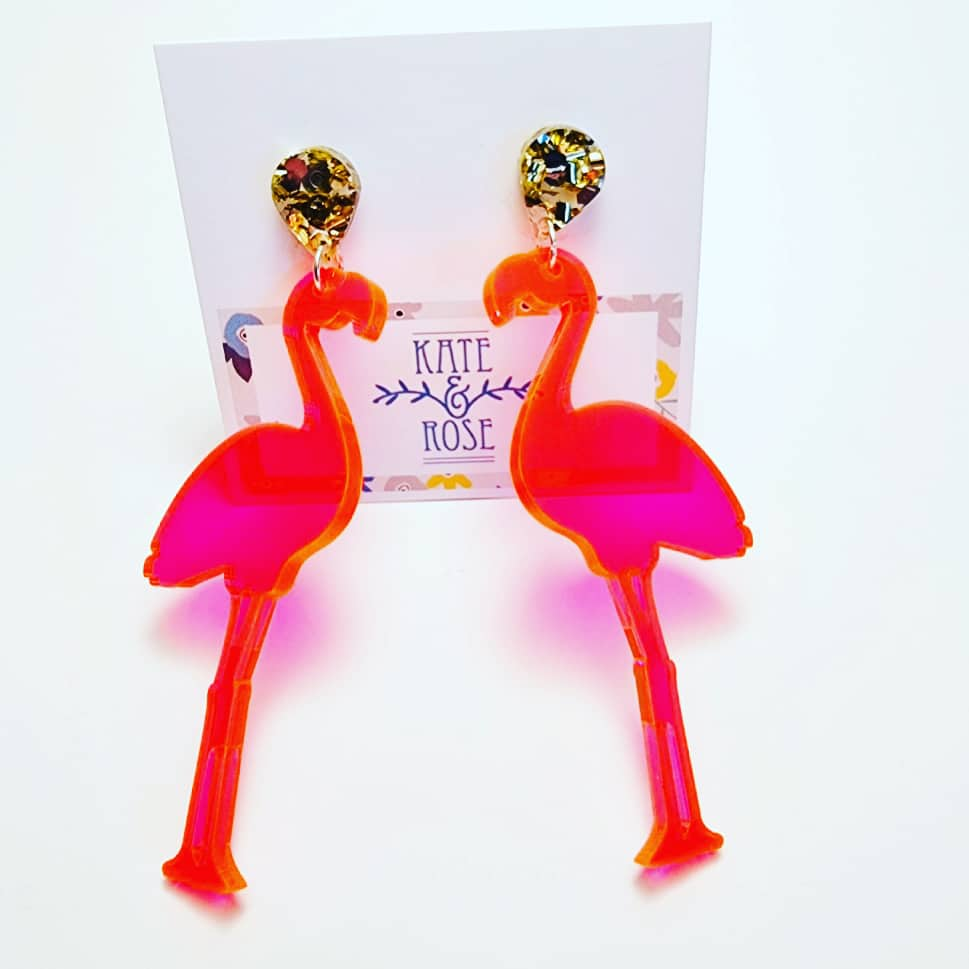 Bright Pink Translucent Acrylic Flamingo Statement Earrings By Kate And Rose (Fitzroy)
