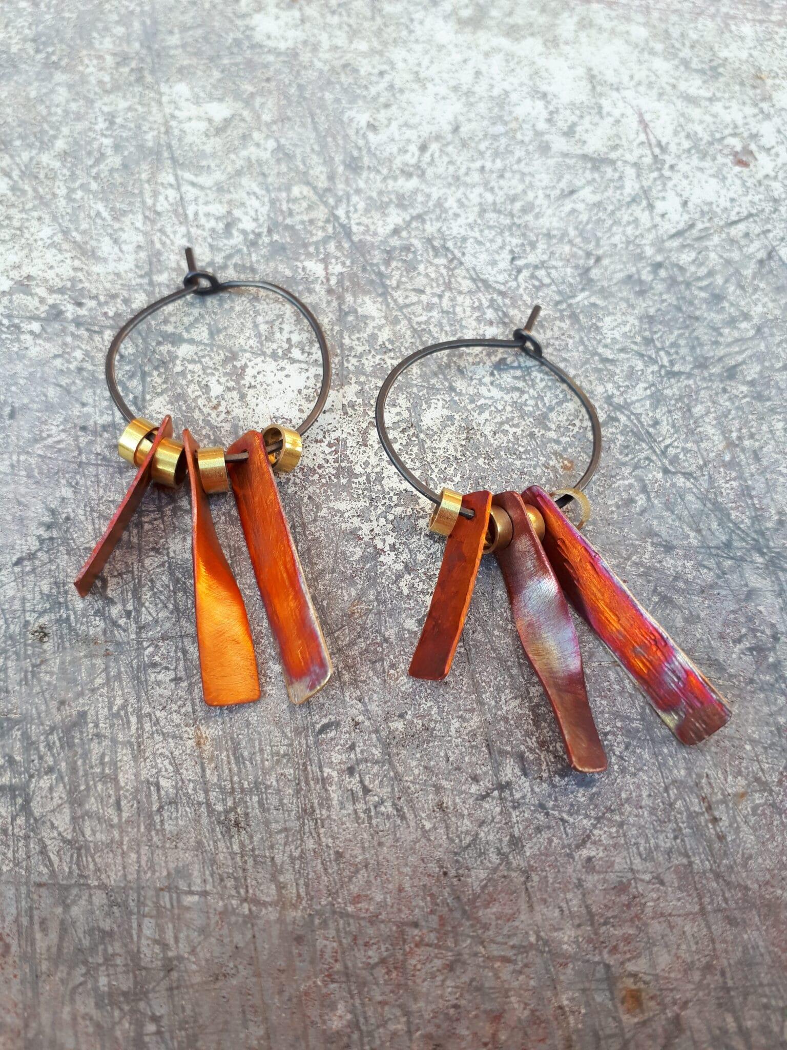 Space Junk (Voskhod Orange) Hoop Earrings By Emma Hesz