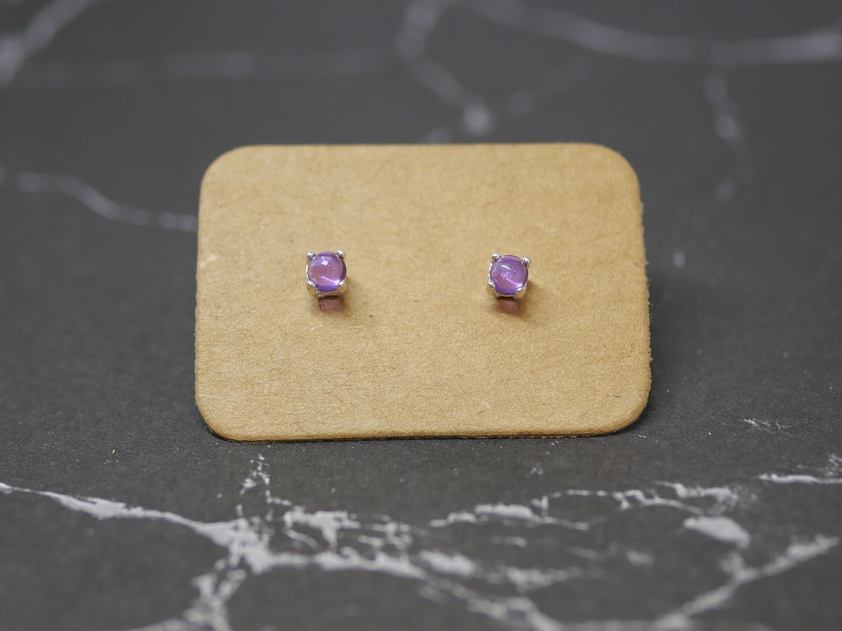 Tiny Amethyst Studs – Sterling Silver Earrings By Purplefish Designs