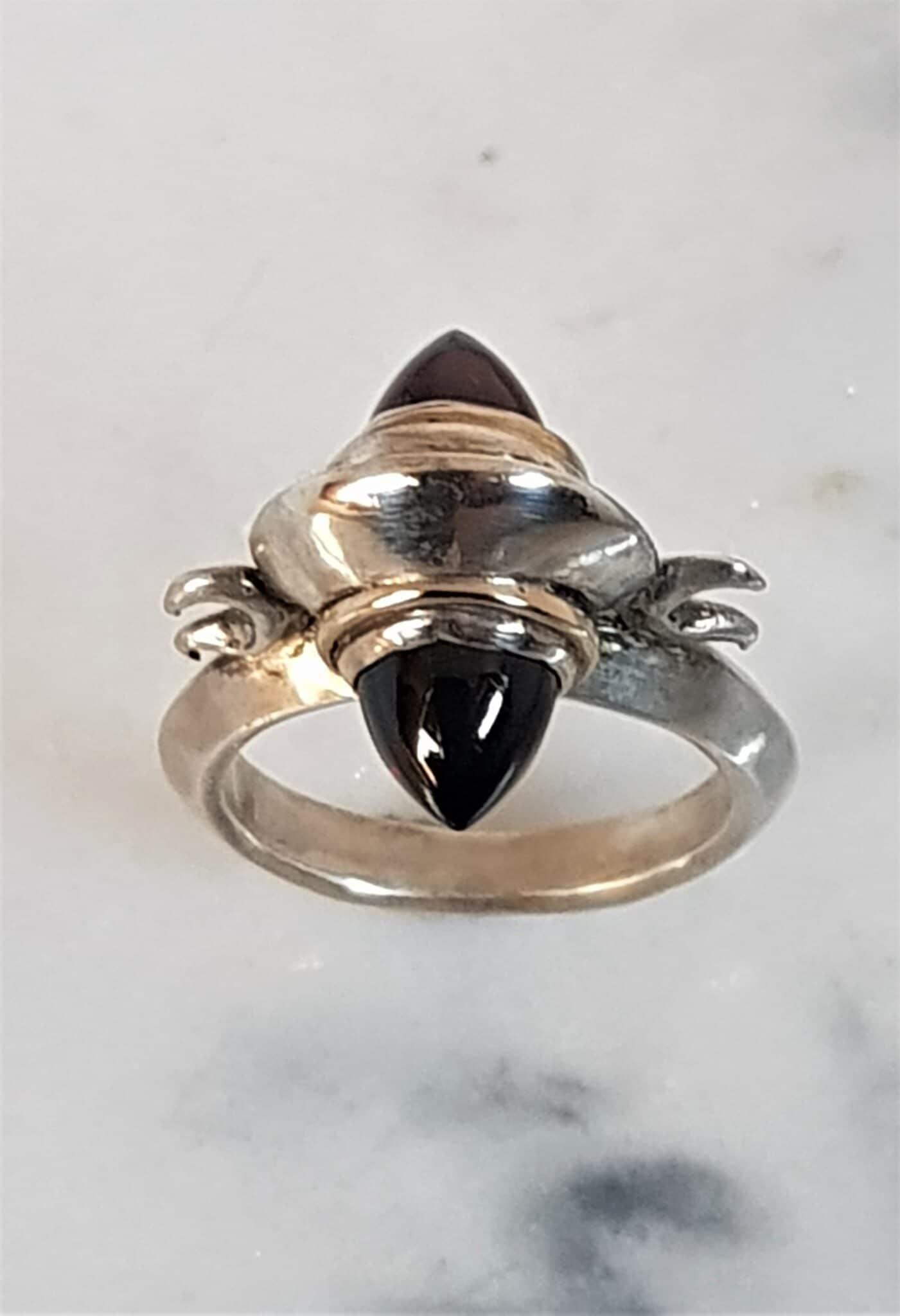 Arc Ring In Silver And 9ct Gold With Bullet Headed Garnets, Size O By Corinne Lomon