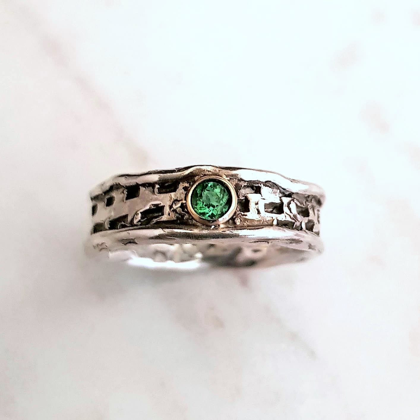 Textured Ring With 3mm Green Tourmaline Set In 9Ct Yellow Gold Rub Over Setting, Size N By Corinne Lomon