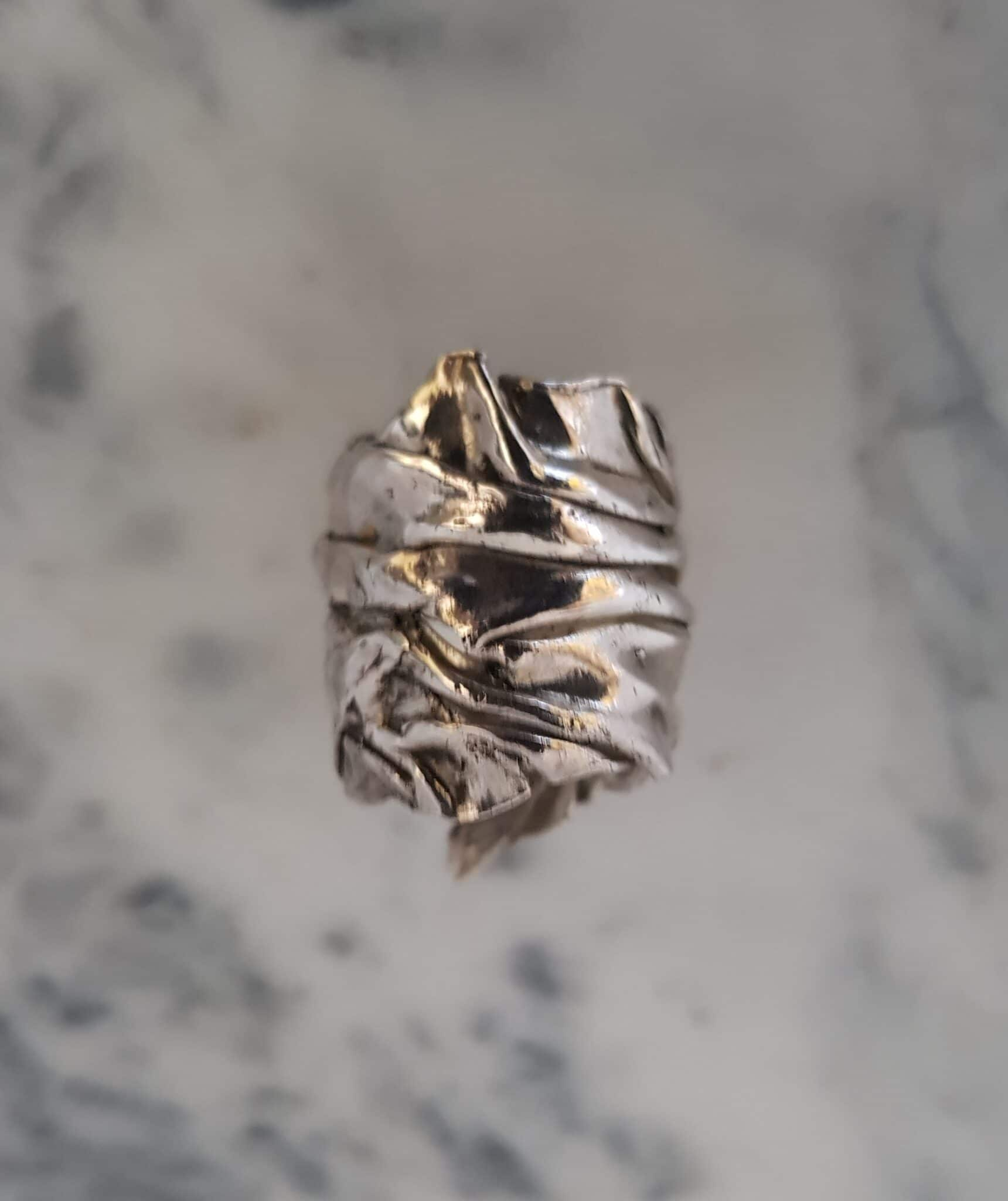 Wide Crumpled Silver Ring, Size S By Corinne Lomon