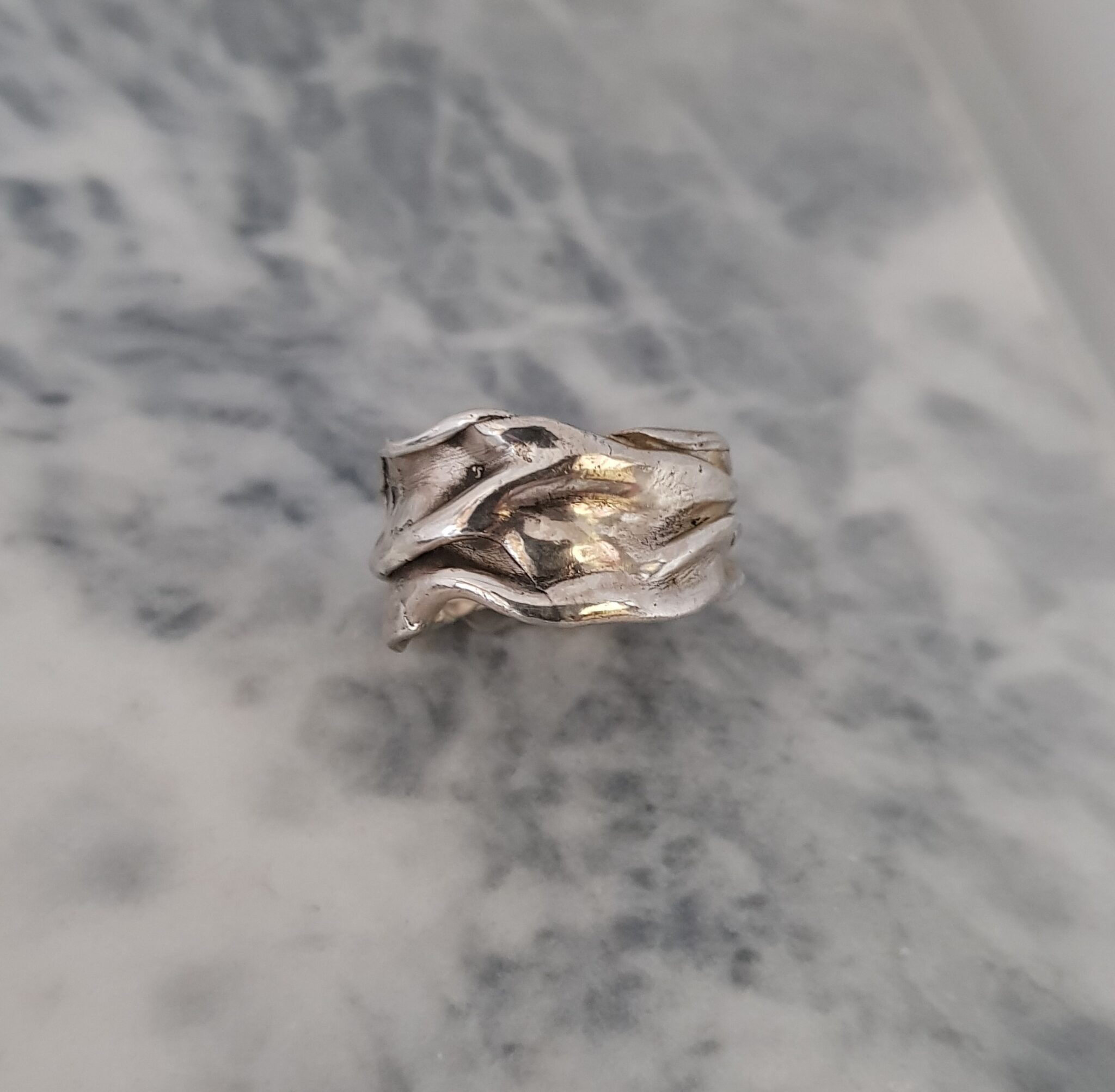 Crumpled Silver Ring, Size W By Corinne Lomon