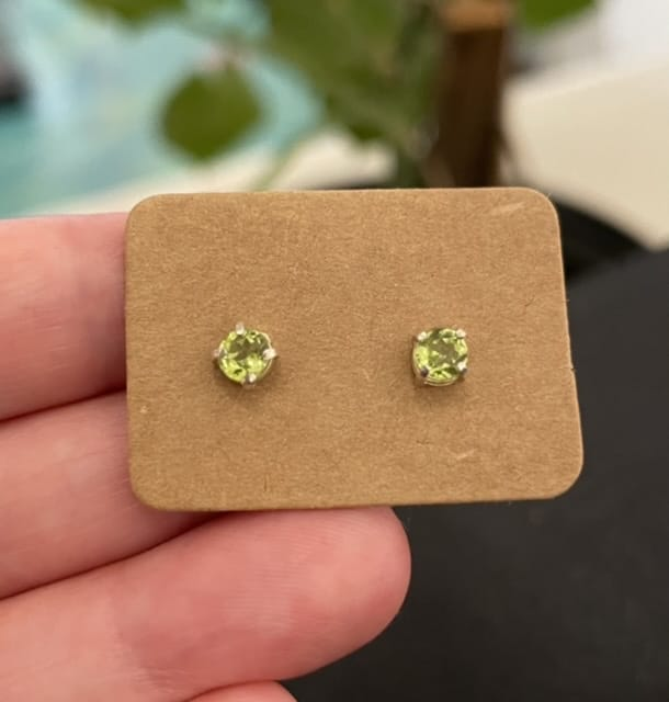 Peridot Studs – Sterling Silver Earrings By Purplefish Designs