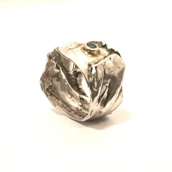 crumpled-textured-ring-with-lab-created-emerald-in-size-p-by-corinne-lomon-by-corinnelomon