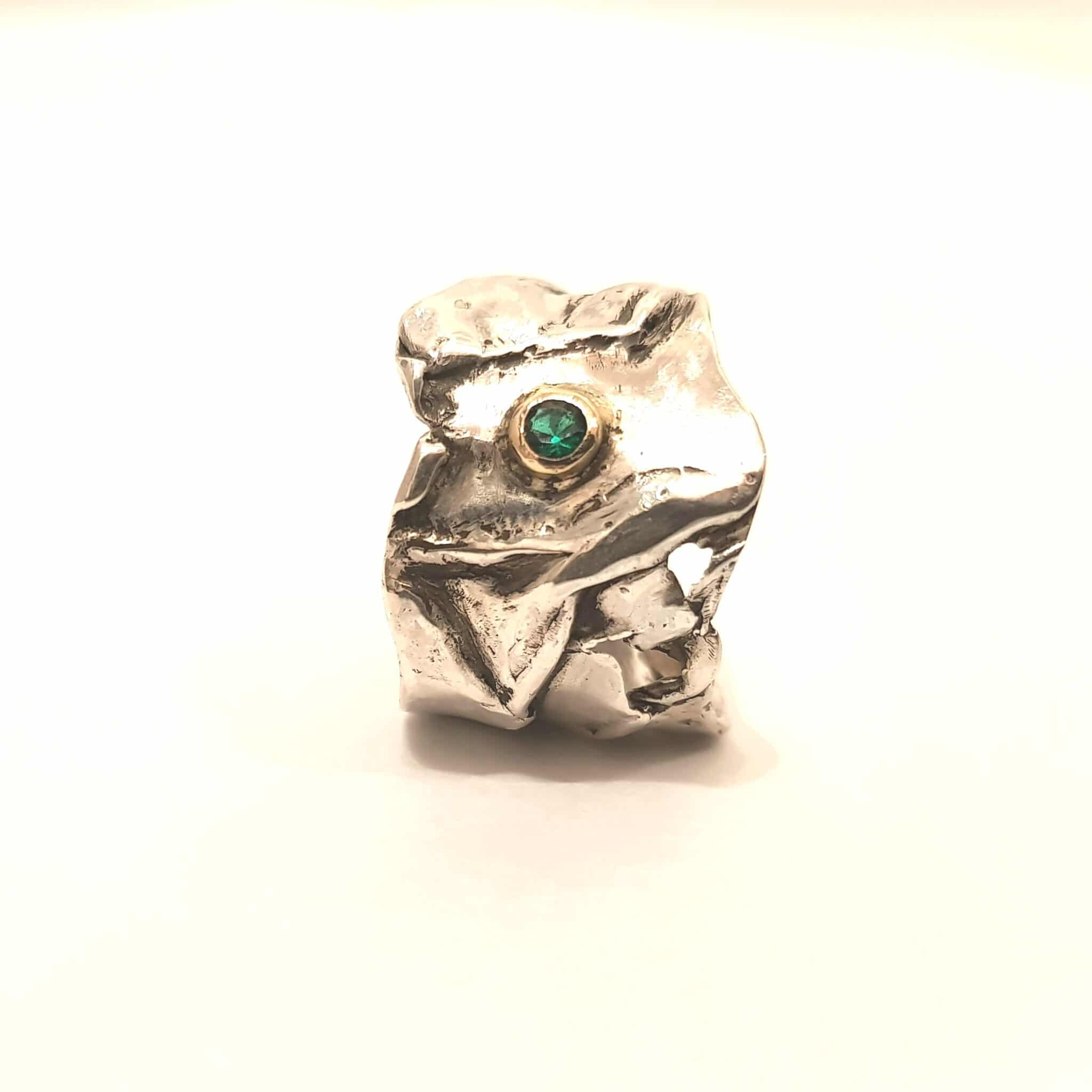 Crumpled Textured Ring With Lab Created Emerald In Size P By Corinne Lomon