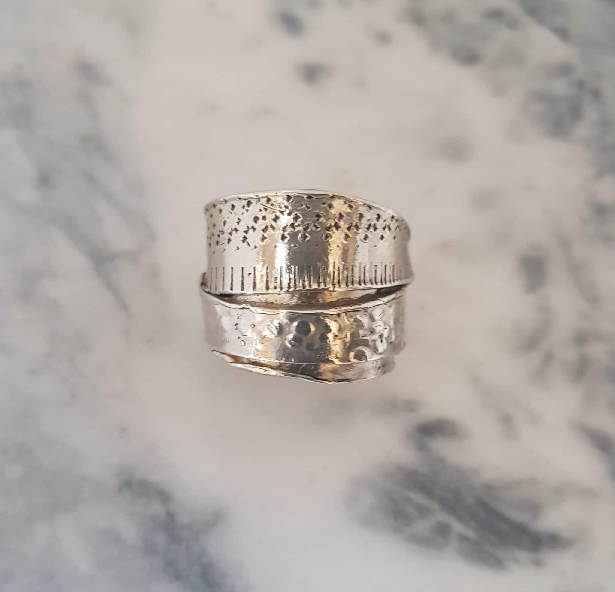 Size X Textured Layered Wrapped Ring By Corinne Lomon
