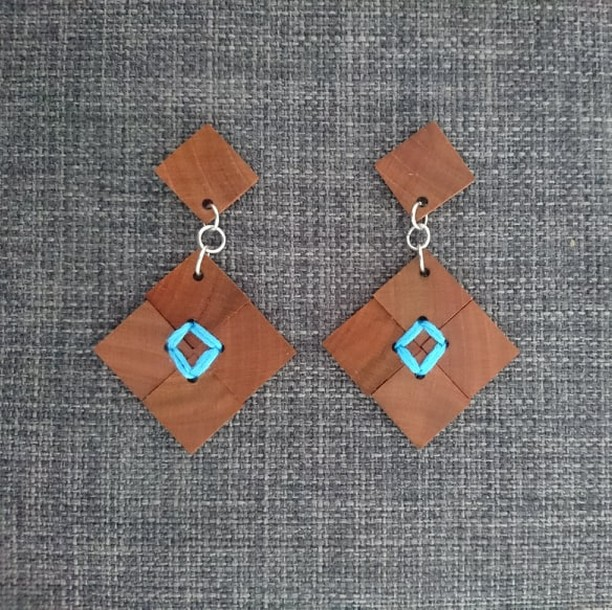 Recycled Timber Earrings – Sewn Squares By CO'B By Design