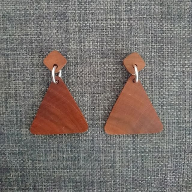 Recycled Timber Earrings – Round Triangles By CO'B By Design