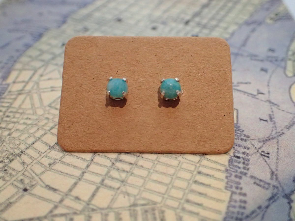 Amazonite Studs – Sterling Silver Earrings By Purplefish Designs